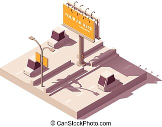 billboard, isometric, vetorial, estrada