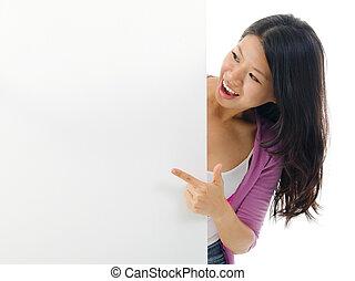 billboard., kvinna, asiat, pekande, tom