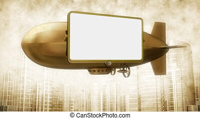 Billboard on dirigible.Vintage - Billboard or video screen...