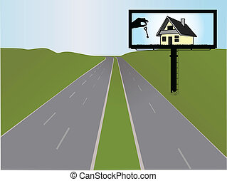 billboard on the highway, vector illustration