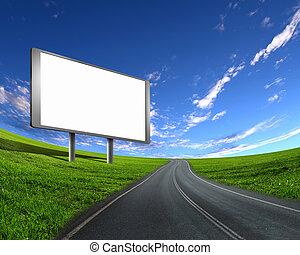billboard on the road - blank white billboard on the edge of...