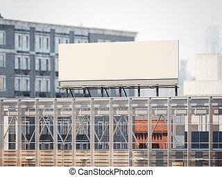 Billboard on the roof of modern building. 3d rendering