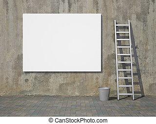billboard, parede, anunciando, em branco