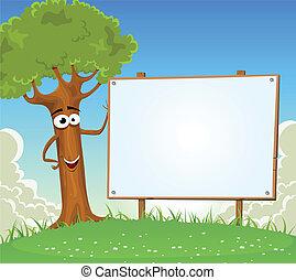 billboard, primavera, árvore, segurando, em branco