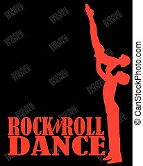Billboard rock-n-roll dance. silhouette men and women on a black background. vector illustration