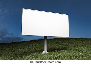 billboard, rua, anunciando, em branco