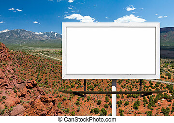 Billboard Sign on Empty Highway in Desert