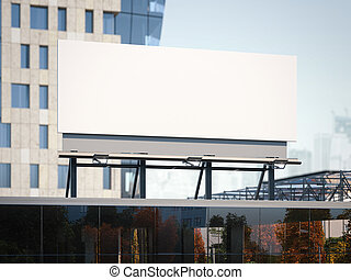 Billboard standing on a office building. 3d rendering