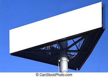 billboard - a three-cornered sign and blue sky