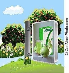 billboard, suco, maçãs