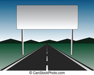 billboard, -, vazio, estrada