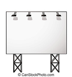 billboard white shadow - White blank billboard with black...