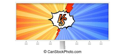 Billboard with letters VS on background in comics books style. Template for sports, martial arts, competition. Red and blue background with halftone effect and red lightning. Vector 3D illustration.