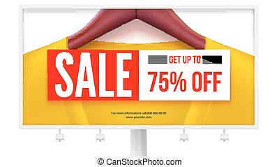 Billboard with offer of sale. Get up to 75 percent off discount. Yellow jacket on hangers with big sale banner, discount tag. Design for advertisements posters, print design. 3D illustration