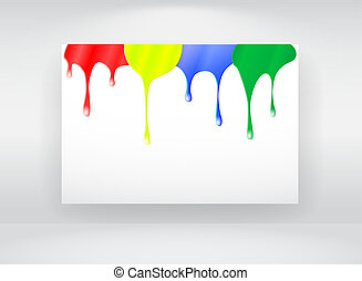 Billboard with paint splash - Vector billboard with paint...