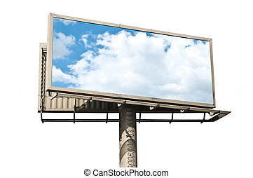 Billboard with reflection of blue sky