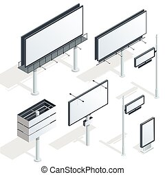Billboards, advertise billboards, city light billboard. Flat 3d isometric vector illustration