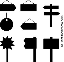 Set of different billboards and signs, black silhouette pictograms. Vector
