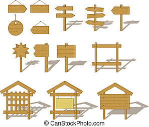 Billboards and signs - Vector, set of wood board billboards ...