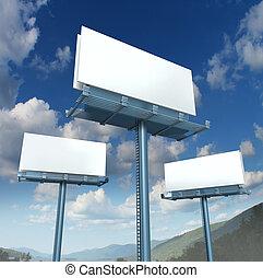 billboards, anunciando, em branco