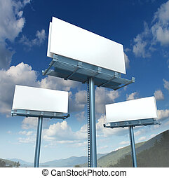 billboards, em branco, anunciando