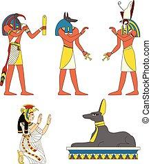 billederne, ancient, sæt, guder, ægyptisk