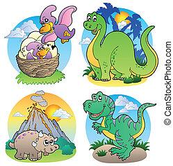 billederne, dinosaurus, 2, adskillige