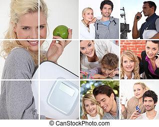 billederne, voksne, unge