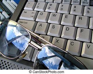 billentyűzet, &, szemüveg