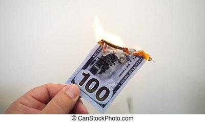 billet banque, brûlé, dollar, possession main, cent