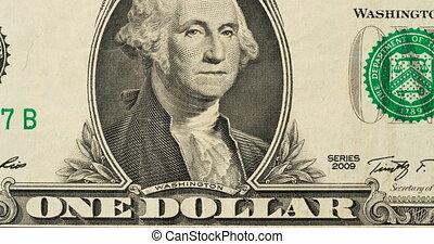 billet banque, dollar, arrêt, animation, une, mouvement