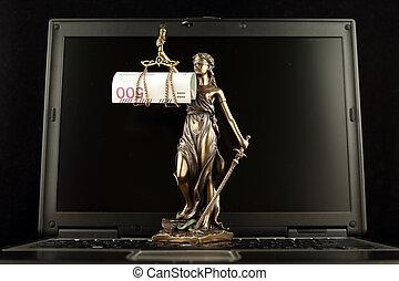 billet banque, justice, symbole, prise vue., laptop., zloty, studio, polonais, droit & loi