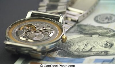 billet banque, montre, dollar, haut, conduire, rouage ...