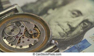 billet banque, montre, dollar, haut, conduire, rouage horloge, chic, fin