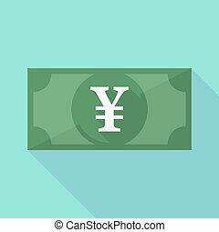 billet banque, yen, long, signe, ombre, icône