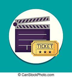 billet, bardeau, cinéma, icônes