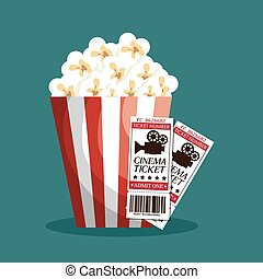 billet, cinéma, entrée, icône