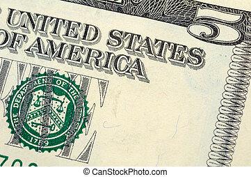 billet cinq dollars, closeup
