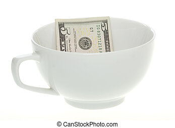 billet cinq dollars, dans, a, café blanc, grande tasse