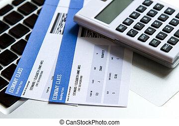 billet, coûts, ligne aérienne