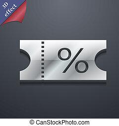 billet, escompte, icône, symbole., 3d, style., branché, moderne, conception, à, espace, pour, ton, texte, ., rastrized