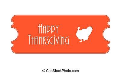 billet, jour, spécial, thanksgiving
