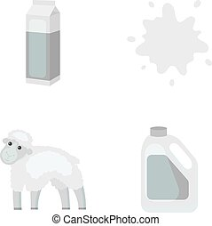 Billet pack, sheep.blue, canister.Moloko set collection icons in monochrome style vector symbol stock illustration web.