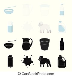 Billet pack, sheep.blue, canister.Moloko set collection icons in black,cartoon style vector symbol stock illustration web.