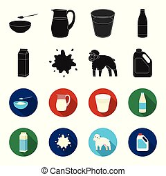 Billet pack, sheep.blue, canister.Moloko set collection icons in black,flet style vector symbol stock illustration web.