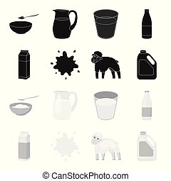 Billet pack, sheep.blue, canister.Moloko set collection icons in black,monochrome style vector symbol stock illustration web.