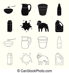 Billet pack, sheep.blue, canister.Moloko set collection icons in black,outline style vector symbol stock illustration web.