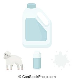 Billet pack, sheep.blue, canister.Moloko set collection icons in cartoon style vector symbol stock illustration web.