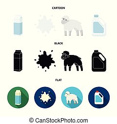 Billet pack, sheep.blue, canister.Moloko set collection icons in cartoon,black,flat style vector symbol stock illustration web.