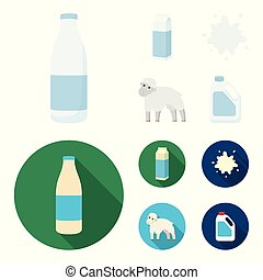 Billet pack, sheep.blue, canister.Moloko set collection icons in cartoon,flat style vector symbol stock illustration web.
